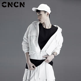 CNCN男装 黑白纯色立领男夹克 青年宽松休闲男士外套CNDJ19135