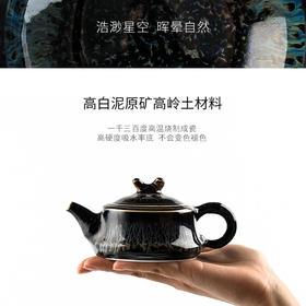 陶溪川景德镇陶瓷天目兰花釉窑变牛角功夫茶具实用泡茶壶