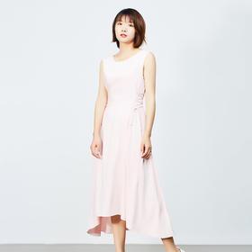 无袖圆领纯色连衣裙