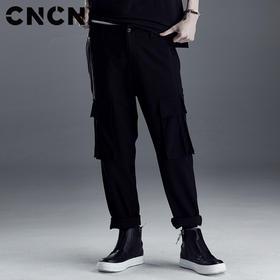 CNCN男装 春季黑色口袋工装裤 男青年潮牌宽松休闲裤CNDK19155