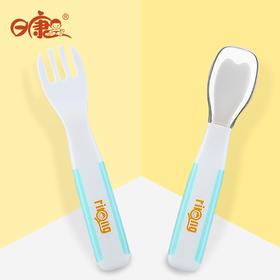 日康宝宝学食匙叉 宝宝专用学食餐具组合 硅胶软头叉子勺子 PP勺