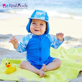 澳大利亚进口Rashoodz   幼童长袖带帽防晒拉链连体泳衣沙滩衣