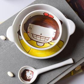 陶溪川新品景德镇陶瓷釉中高温健康亲子餐具套组儿童卡通碟碗勺子