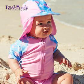 澳大利亚进口Rashoodz   幼童短袖带帽防晒拉链连体泳衣沙滩衣