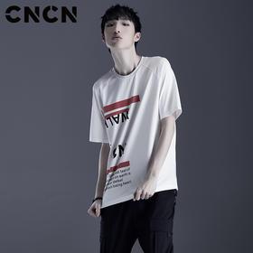 CNCN男装 白色纯棉夏季字母T恤 短袖潮牌青年全棉体恤CNDT20985