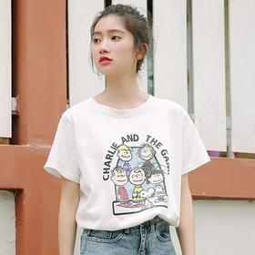 2019夏季新款趣味印花T恤女短袖韩版宽松圆领学生百搭字母上衣潮