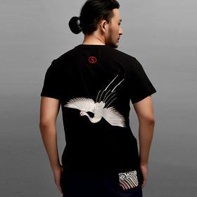 【中国风】原创仙鹤刺绣T恤