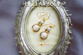 优雅双圈廓形珍珠耳环