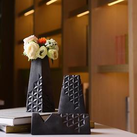 陶溪川新品景德镇陶瓷简影黑色花器创意北欧软装摆件礼品花瓶