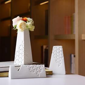 陶溪川新品景德镇陶瓷简影白色花器创意北欧软装摆件礼品花瓶