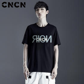 CNCN男装 夏季薄款百搭情侣T恤 青年宽松字母印花体恤 CNLP22801