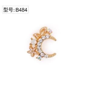 【美甲金属饰品】B484金底幻彩白色小碎钻白色蛋白钻石白釉花冠金色