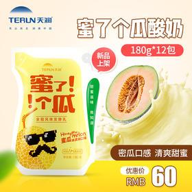 【蜜瓜酸奶】terun天润新疆蜜了个瓜哈密瓜风味浓缩酸牛奶180g*12袋