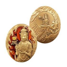 【大铜章】中国佛教系列第四组日光菩萨、月光菩萨大铜章·中国金币发行