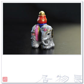 长物居 粉彩描金陶瓷鼻烟壶之太平有象 景德镇手工瓷器文房雅玩