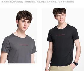 骆驼男装 2018年夏季新款男青年休闲简约T恤 圆领印花短袖上衣