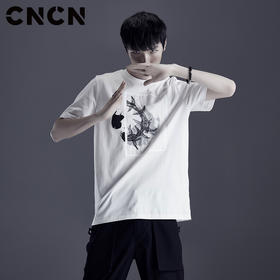 CNCN男装 夏季精梳棉印花刺绣T恤 男薄款休闲短袖体恤CNDT20958
