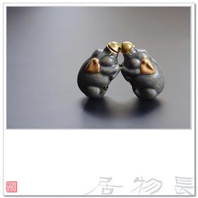 长物居 墨彩描金瓷器鼻烟壶之福猪 鼻烟壶勺 景德镇仿古文房雅玩