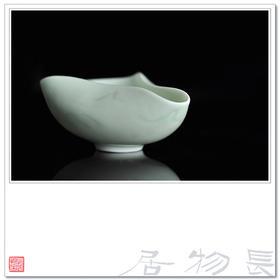 长物居 影青釉青白瓷暗刻山水茶托 景德镇手工陶瓷茶具