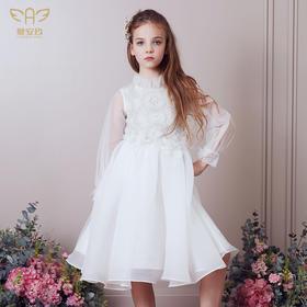 爱安玖白色长袖礼服裙  AAJ181