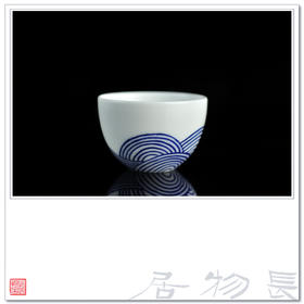 长物居 手绘青花枯山水陶瓷小茶杯 景德镇瓷器杯具 茶具系列