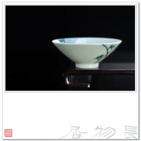 长物居 斗彩鸣凤在竹过墙纹斗笠杯 景德镇精品仿古瓷茶杯茶具