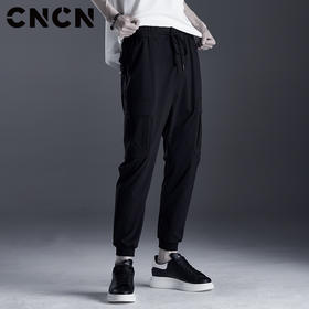 CNCN男装 春夏薄款弹力休闲裤 男士小脚裤黑色轻薄裤子CNDK21020