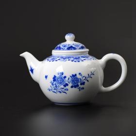 长物居 景德镇手绘青花折枝花卉纹瓷器茶壶茶具 江西瓷业公司款