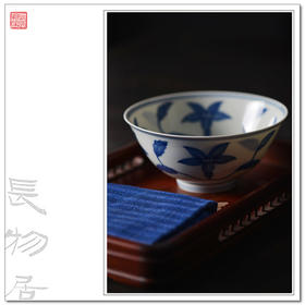 长物居 成化手绘青花秋葵纹宫碗 手工仿古陶瓷薄胎碗 景德镇瓷碗
