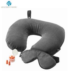 【芝华安方】美国eaglecreek深灰色舒适旅行套装 颈枕眼罩耳塞睡眠三件套 新品 舒适