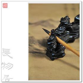 长物居 手造孤品 仿乾隆 黑釉仿石纹陶瓷笔山笔架 山子之一