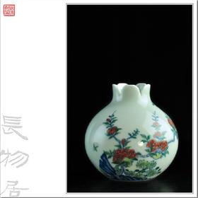 长物居 斗彩花蝶纹石榴尊 景德镇手工陶瓷花器茶器小摆件