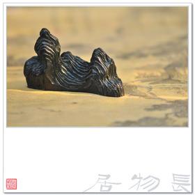 长物居 手造孤品 仿乾隆 黑釉仿石纹陶瓷笔山 笔架 山子之五