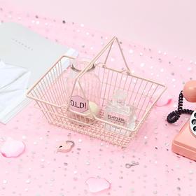 可爱日系粉色铁艺迷你购物篮收纳篮 文具