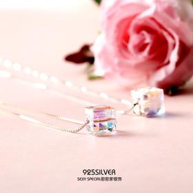 925纯银纯净甜美清新方形水晶透明糖果爱的记忆项链女锁骨链颈链