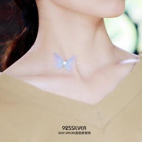 925纯银蝴蝶珍珠鱼线隐形项链项圈女颈链短款脖子饰品个性甜美