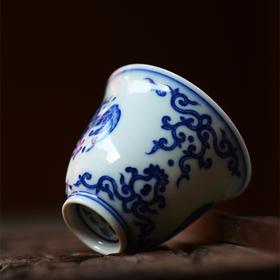 长物居 手绘青花瓷蝙蝠纹品茗杯 景德镇手工陶瓷功夫茶杯茶具