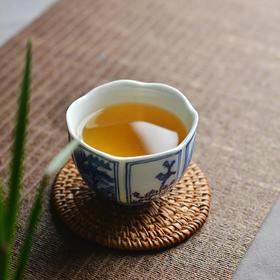 长物居 手绘青花开光花鸟人物葵口杯 景德镇陶瓷茶杯茶具