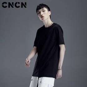 CNCN男装 夏季黑色潮牌男短袖T恤 中袖薄款全棉体恤CNDT20942