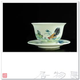 长物居 仿雍正手绘斗彩鸡缸杯 景德镇手工仿古瓷器茶杯陶瓷茶具