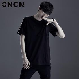CNCN男装 黑色休闲T恤 男青年潮牌百搭弹力轻薄体恤衫CNDT20989