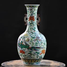 长物居 手绘斗彩龙凤纹双耳赏瓶 景德镇手工仿古陶瓷花瓶