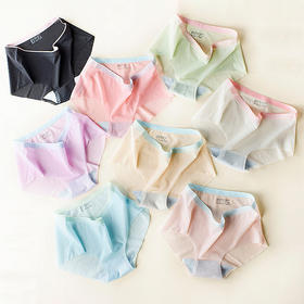 【100万日本女性标配】MUMUWIE一片式无痕冰丝内裤 甲壳素纤维马卡龙撞色冰丝内裤 独立包装