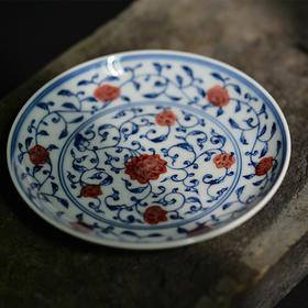 长物居 手绘青花釉里红缠枝莲纹茶杯托壶呈 景德镇手工陶瓷茶具