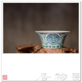 长物居 景德镇纯手工仿古瓷 手绘斗彩石榴纹马蹄碗