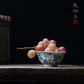 手绘斗彩瓜果纹瓷器小碗茶碗 景德镇手工陶瓷茶杯茶具