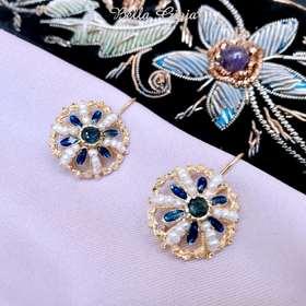 蓝宝原石耳环