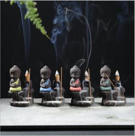 【办公室用品】倒流香炉创意紫砂小和尚高山流水插香线熏炉陶瓷香道家居办公摆件