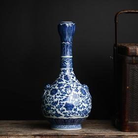手绘青花缠枝莲纹蒜头瓶 景德镇手工仿古陶瓷花瓶摆件