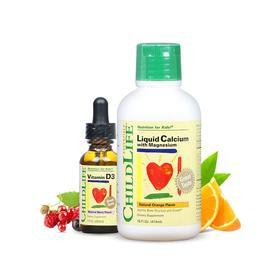 【营养搭档】CHILDLIFE 钙镁锌成长营养液 474毫升+维生素D3阳光营养液 29.6毫升